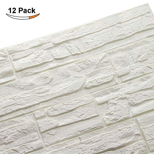 Doremy 3D Brick Pattern Wall Panels Stickers PE Foam Self-Adhesive Wallpaper DIY Waterproof Modern Style for Living Room Bedroom Kitchen Background Wall Decoration (12PCS, White) ()