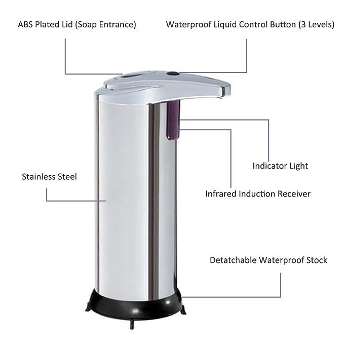 LIVEHITOP Acero Inoxidable Automático Dispensador de Jabón Manos LibresLa inducción de infrarrojos Auto Dispensadores de loción y de jabón para ...