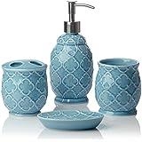 Comfify Bathroom Designer 4 Piece Ceramic Bath Accessory Set   Includes  Liquid Soap Or Lotion