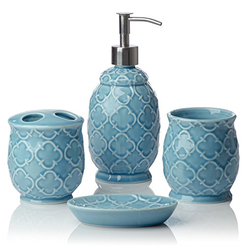 Comfify Bathroom Designer 4-Piece Ceramic Bath Accessory, used for sale  Delivered anywhere in USA