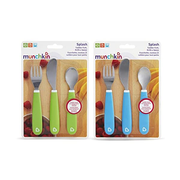 Munchkin Splash Toddler Fork, Knife and Spoon Set, 6 Pack, Blue/Green 4