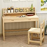 Tribesigns Kids Study Desk and Chair Set, Height Adjustable Solid Wood Writing Desk With 2 Tier Bookshelf/Drawer Great for Kids Works As Student Desk, Study Table (Double bookshelves)