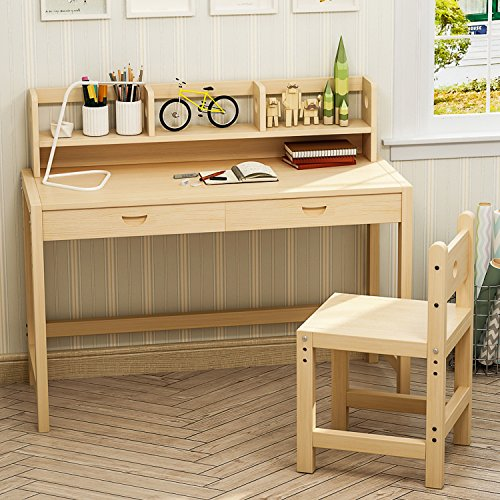 Tribesigns Unfinished Kids Study Desk and Chair Set, Height Adjustable Solid Wood Writing Desk With 2 Tier Bookshelf/Drawer Great for Kids Works As Student Desk, Study Table (Double bookshelves) by Tribesigns