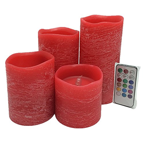 Adoria Red Rustic Pillar WAX Candles Auto Cycle Timer -Multi Function Remote control set of 4 Led Lights Floral Scent,3 by tall 3