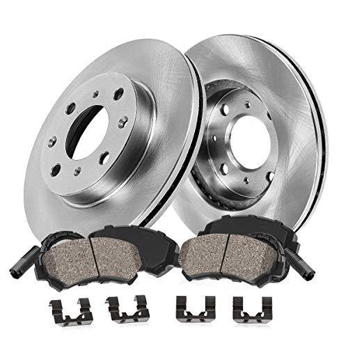 FRONT 320 mm Premium OE 5 Lug [2] Brake Disc Rotors + [4] Ceramic Brake Pads + Sensors + Hardware