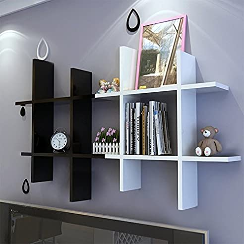 Bücherregal weiß wand  Tomasa Moderne Haus Weiß Holz Wandregal Holzwandregal Regal Ablage ...