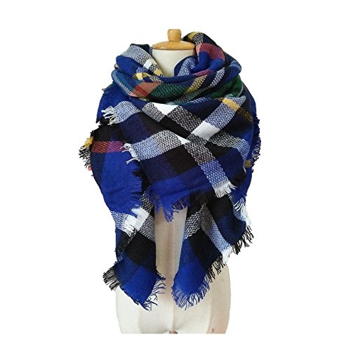 NLOKER Women's Plaid Blanket Winter Scarf Warm Cozy Tartan Wrap Oversized Shawl Cape (Royal Blue) (Plaid Scarf Blue)