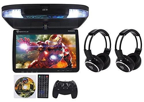 Rockville RVD9FD-BK 9″ Black Flip Down DVD Monitor w/ USB/SD+Wireless Headphones