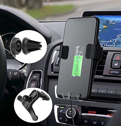 Fast Wireless Charger Car Mount Q1 Wireless Car Charger Mount Air Vent Stand Phone Holder for iPhone 8/8 Plus, iPhone X, Nexus 5/6 / 7, Samsung Galaxy S8 S8 Plus S7 Edge S7 S6 Edge Plus Note 5 by Ellishang (Image #5)