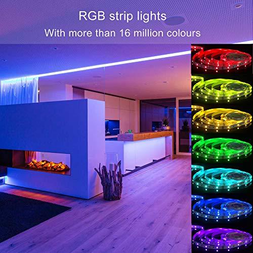 Aourow Ruban LED 10m,Bande LED Bluetooth RGB avec Contrôle APP et Télécommande 40 Boutons,Synchronisation avec la Musique,Bande Lumineuse SMD5050 pour la fête,Maison,Chambre,Décoration(non étanche)