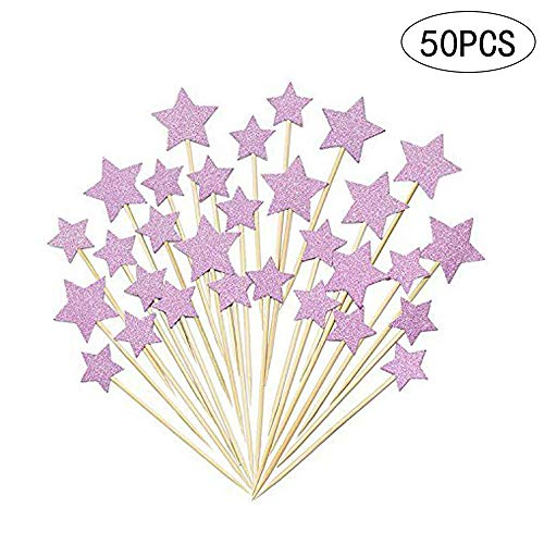 Cupcake Toppers,Sundell Purple Glitter Stars Cake Toppers Twinkle Twinkle Little Star Birthday Cupcake Toppers Baby Shower Wedding Party Cake Decorations,50Pcs -