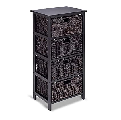 Charmant Storage Tower With Baskets Black   Drawer Organizer Cabinet Woven   Best  For Office, Bedroom