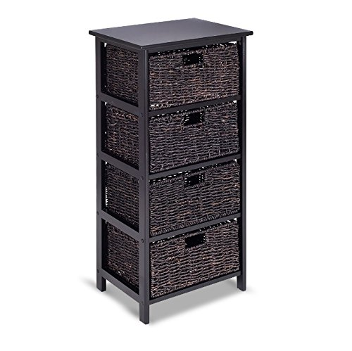 Storage Tower with Baskets Black - Drawer Organizer Cabinet Woven - Best For Office, Bedroom, Bathroom, Laundry Room Bundle w Floor Protector Pads (4 Drawers)