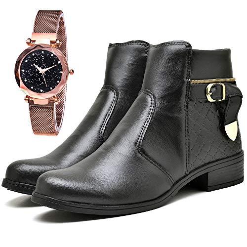 Bota Coturno Cano Curto Com Relógio Gold Feminino DUBUY 207FDB Tamanho:36;cor:Preto;gênero:Feminino
