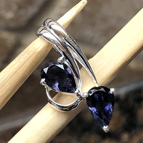 - Natural 2ct Iolite { Water Sapphire } 925 Solid Sterling Silver Designer Pendant 25mm Long