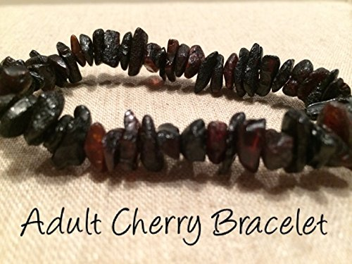 Inch Carpal Tunnel Swelling Baltic Amber anti-inflammatory Adult polished black cherry Stretch Man Woman Certified Authentic Back, Head & Tooth Aches. (Adult Cherry)
