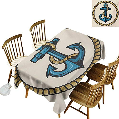 French Tablecloth W60 x L84 Anchor Sailor Design with Circular Rope and Anchor Antique Maritime Nautical Pale Coffee Blue Cream Great for Party More ()