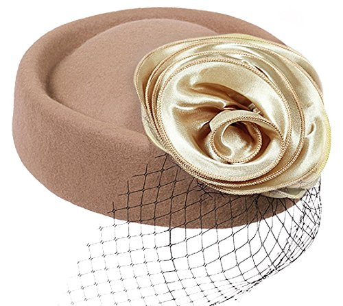 636371e82800 Sheliky Pillbox Hat Fascinator Beret Wool Cocktail Wedding Tea Party Derby  Hat for Women (Khaki)