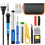 Soldering Iron Kit, with Tempe Control Soldering Iron, Solder Wire, Screwdriver, 5 Iron Tips, Desoldering Pump,Tweezer, Stand, Wire Stripper Cutter, Electronic wires, Pu bag … (dark blue)