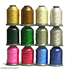 12 Spools WINTER/HOLIDAY Embroidery Machine Thread