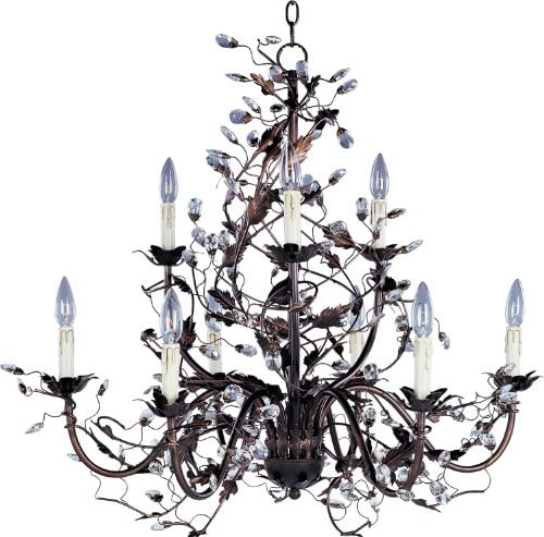 Maxim 2852OI Elegante Crystal and Leaves Around Vines Candle Chandelier - a good cheap living room chandelier