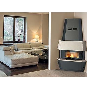 Estufa de pellet Eva Calor Giotto Serpentino, 12 kW, gris silicio: Amazon.es: Hogar
