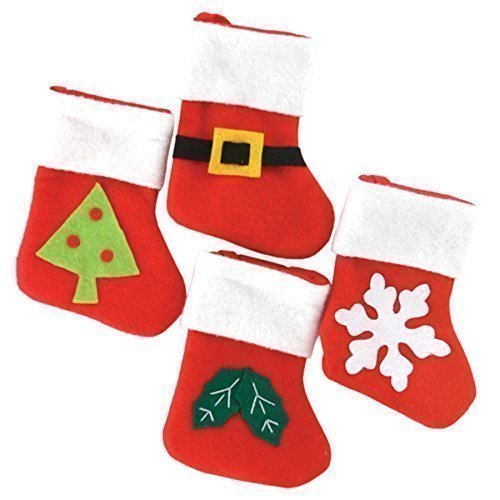 Pack of 4 Mini Christmas Felt Stockings (1) Robelli