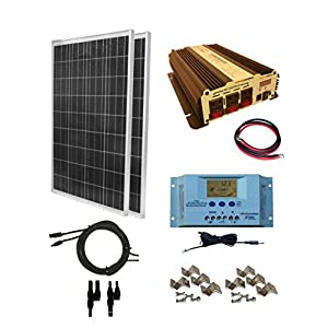 WindyNation-200-Watt-2pcs-100-Watt-Solar-Panel-Kit-with-1500W-VertaMax-Power-Inverter-for-RV-Boat-Off-Grid-12-Volt-Battery-Systems