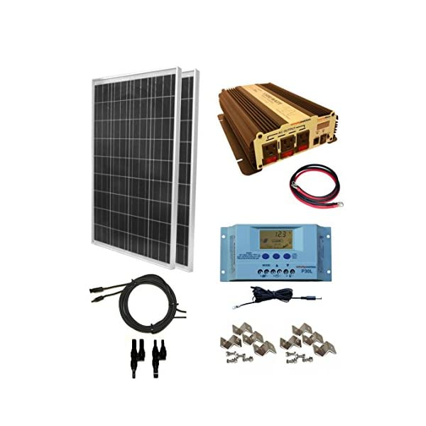 WindyNation-200-Watt-2pcs-100-Watt-Solar-Panel-Kit-with-1500W-VertaMax-Power-Inverter-for-RV-Boat-Off-Grid-12-Volt-Battery-Systems