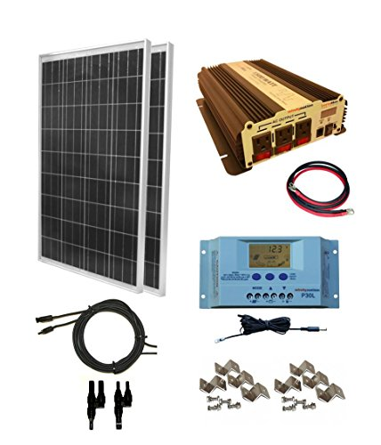 WindyNation 200 Watt (2pcs 100 Watt) Solar Panel Kit With 1500W VertaMax Power Inverter For RV, Boat, Off-Grid 12 Volt Battery Systems