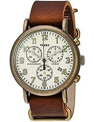 Timex Mens TW2P85300 Weekender Chrono Antiqued Brass/Brown Leather Slip-Thru Strap Watch