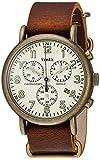 Timex Men's TW2P85300 Weekender Chrono Antiqued Brass/Brown Leather Slip-Thru Strap Watch