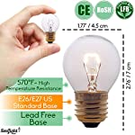 Oven Light Bulbs – 40 Watt Appliance Replacement Bulbs for Oven, Stove, Refrigerator, Microwave. Incandescent - High Temp G45 E26/E27 Socket. Medium Brass Lead-Free Base - 400 Lumens - Clear. 2 Pack 8