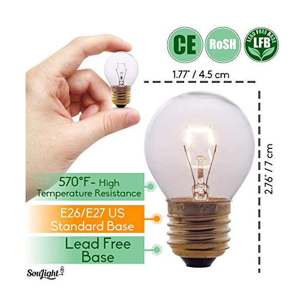 Oven Light Bulbs – 40 Watt Appliance Replacement Bulbs for Oven, Stove, Refrigerator, Microwave. Incandescent - High Temp G45 E26/E27 Socket. Medium Brass Lead-Free Base - 400 Lumens - Clear. 2 Pack 3