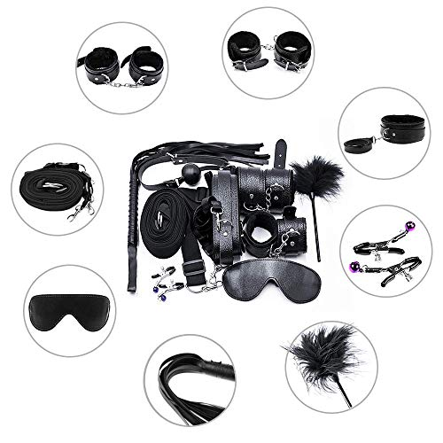 BDSM Bed Restraints Kits Sex Bondage Sets Sex Toys Play for Couples with Handcuffs Ankle Cuff Collar Leash Ball Gag…