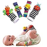 Electomania™ Fashion 4 X Baby Infant Soft Toy Wrist Rattles Hands Foots Finders Developmental Lamaze