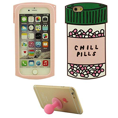 Apple iPhone 6S Plus Coque Case, Chill Pills Bouteille Forme Silicone Gel Doux Housse de Protection Case pour iPhone 6 Plus / 6S Plus 5.5 inch + Silicone Titulaire