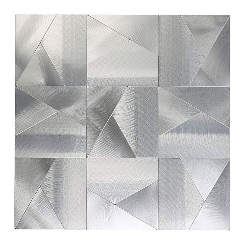 HomeyStyle Irregular Triangle Puzzle Peel and Stick Tile Metal Backsplash for Kitchen Bathroom Stove Walls Self-Adhesive Aluminum Surface Metal Mosaic Tiles 3D Wall Sticker,Pack of 5 Tiles 12