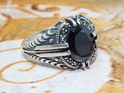 Agate Topaz Ring (handmade 925 sterling silver mens ring black topaz stone all sizes available)