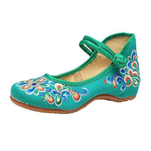 bc51ee739ef Ztl Mujeres Bordadas Vintage Zapatos Mary Jane Zapatos Planos Ocasionales  Hechos A Mano Zapatos Verdes