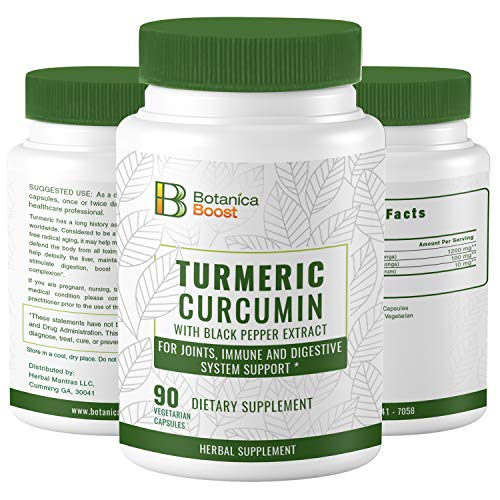 (Turmeric Curcumin 650mg Dietary Supplement Capsules with Black Pepper Extract, 100% Natural Anti-Inflammatory for Joint Support and Cardiovascular Health (90 Count))