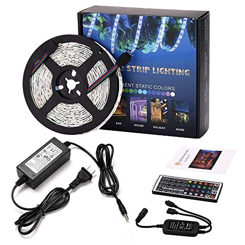 (Led Strip Lighting 5M 16.4 Ft 5050 RGB 150LEDs Flexible Color Changing Full Kit with 44 Keys IR Remote Controller, Control Box,12V 2A Power Supply,Not-Waterproof)