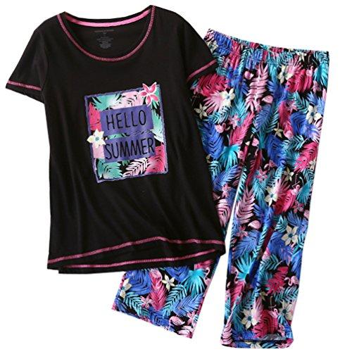 ENJOYNIGHT Women_s Sleepwear Tops with Capri Pants Pajama Sets