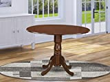 East West Furniture Round Table with Two 9-Inch Drop Leaves, Mahogany Finish