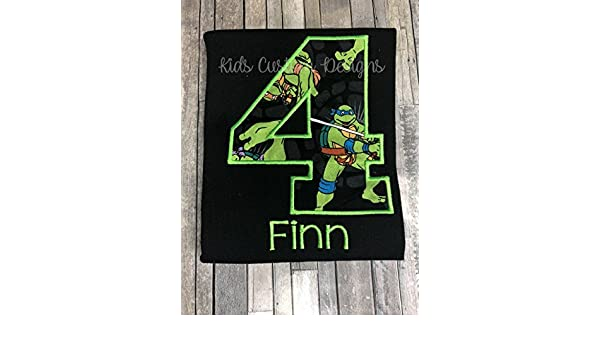 Amazon.com: Ninja turtles birthday shirt embroidered Any age ...