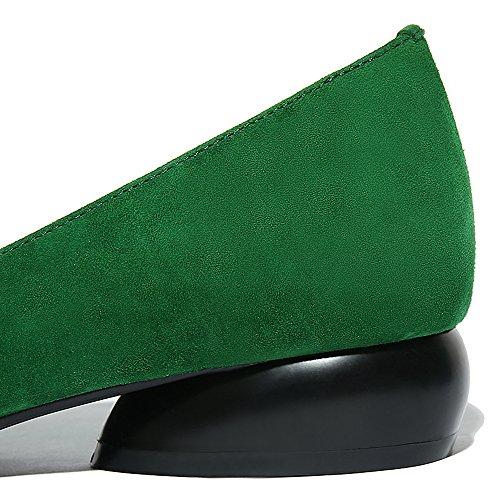 Nine Seven Cuero Moda Puntiagudos Bailarinas Planos Cómodos con Flescos para Mujer Verde
