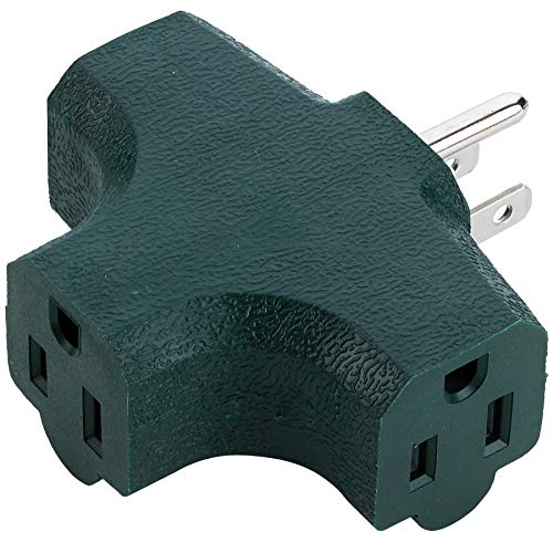 3 Way (T Straight Shaped) with Plug Locations On The left, Right, and Middle For Behind Furniture – Wall Outlet Splitter Triple Prong Wall Plug Adapter– Green Color (UL Listed) - By Katzco
