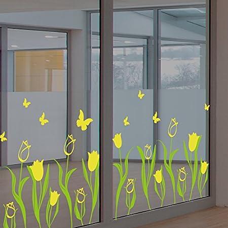 ALLDOLWEGE La ventana creativa tienda Tienda de decoraciones de vidrio del restaurante puerta ventana adhesivos pegatinas de estilo de vestimenta de Pared Flor tulipán amarillo DecalsThatThe tulipanes: Amazon.es: Hogar