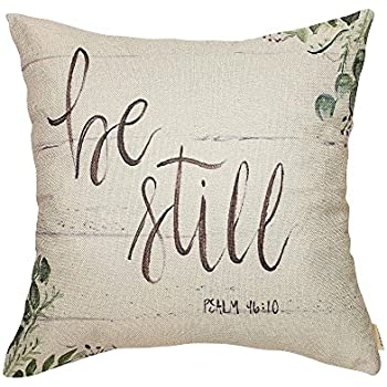 Fjfz Be Still Greenery Floral Retro Country Style Farmhouse Décor Spring Summer Decoration Gift Cotton Linen Home Decorative Throw Pillow Case Cushion Cover with Words for Sofa Couch, 18