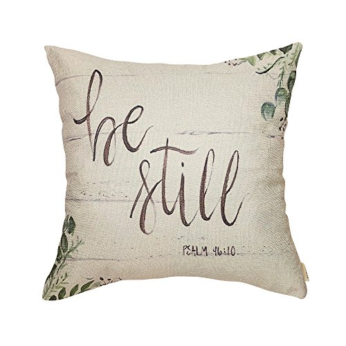 Fjfz Be Still Greenery Floral Retro Country Style Farmhouse Quote Gift Cotton Linen Home Decorative Throw Pillow Case Cushion Cover with Words for Sofa Couch 18quot x 18quot